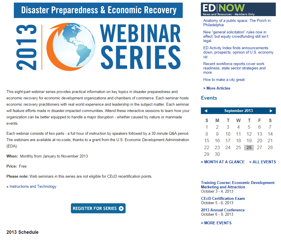 disaster prep and economic recovery webinar